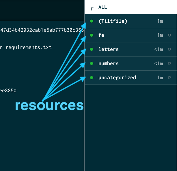resources in the sidebar of the Tilt UI